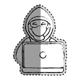 Sticker monochrome blurred of hacker and laptop Royalty Free Stock Image