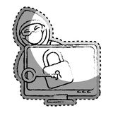 Sticker monochrome blurred with hacker and lcd monitor with padlock. Vector illustration Royalty Free Stock Images
