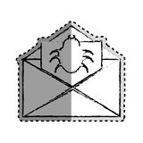 Sticker monochrome blurred with with open envelope mail with beetle virus Royalty Free Stock Photo