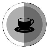 sticker monochrome circular emblem with coffee cup Royalty Free Stock Images