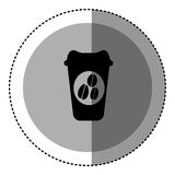 sticker monochrome circular emblem with disposable coffee cup Stock Photo