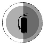 Sticker monochrome circular emblem with extinguisher icon Stock Photos
