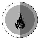 Sticker monochrome circular emblem with flame icon Royalty Free Stock Image