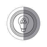 Sticker monochrome of circular frame with bulb light with recycling symbol Stock Photography