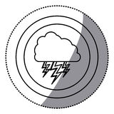 Sticker monochrome circular frame with cloud with lightnings Royalty Free Stock Images