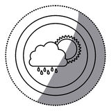 sticker monochrome circular frame with cloud with rain and sun Stock Photo