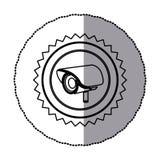 Sticker of monochrome circular frame with contour sawtooth of exterior video security camera Stock Image