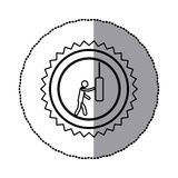 sticker of monochrome circular frame with contour sawtooth ofpictogram with man knocking punching bag Stock Photo
