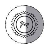 Sticker of monochrome circular frame with contour sawtooth of pictogram with abdominal training on inclined bar Royalty Free Stock Photos