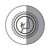 sticker of monochrome circular frame with contour sawtooth of pictogram with man kicking a punching bag Stock Images
