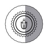 Sticker of monochrome circular frame with contour sawtooth of pictogram with training in skipping rope Royalty Free Stock Photo