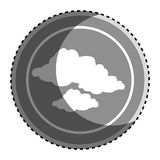 Sticker monochrome circular frame with silhouette set clouds icon. Vector illustration Stock Photos