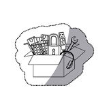 Sticker monochrome contour with box obsolete objects Royalty Free Stock Photos