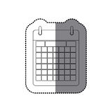Sticker monochrome contour calendar with two rings Stock Image