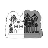 sticker of monochrome contour of cottage in the forest in white background Royalty Free Stock Photography