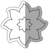 sticker monochrome contour with flower of eight petals and half shadow Stock Image
