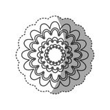Sticker monochrome contour with flower figure Royalty Free Stock Photography