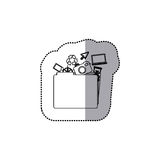 Sticker monochrome contour of folder with personal files. Illustration Royalty Free Stock Photography