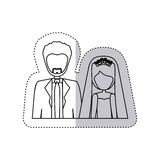 Sticker monochrome contour half body with coupled married Stock Photo