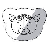 Sticker monochrome contour and half shadow with face of bride bear Stock Images
