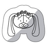 Sticker monochrome contour and half shadow with face of bride dog Royalty Free Stock Photos