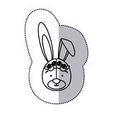 Sticker monochrome contour and half shadow with face of bride rabbit Stock Image