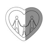 sticker of monochrome contour of heart with family group Stock Image
