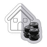 sticker monochrome contour with house and stacking coins Stock Photos