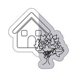 sticker monochrome contour house with tree Stock Photography