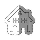 sticker of monochrome contour of house two floors and attic in white background Royalty Free Stock Image