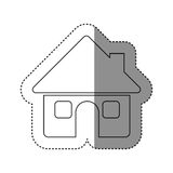 sticker of monochrome contour of house with two windows in white background Stock Photo