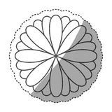 sticker monochrome contour with oval petals forming flower Royalty Free Stock Images