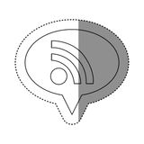 sticker of monochrome contour of oval speech with wifi icon Stock Photography