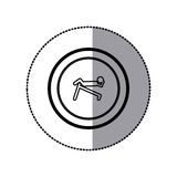 Sticker of monochrome contour pictogram with abdominal training on inclined bar in circular frame Royalty Free Stock Photos