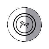 Sticker of monochrome contour pictogram with abdominal training on inclined bar in circular frame Stock Image