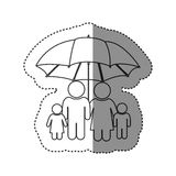 Sticker of monochrome contour of pictogram with umbrella protecting family group. Illustration Royalty Free Stock Photo