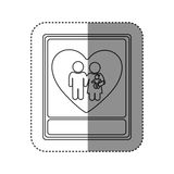 sticker of monochrome contour with portrait of family unity Royalty Free Stock Image