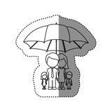 Sticker of monochrome contour of umbrella protecting faceless family group. Illustration Stock Photography
