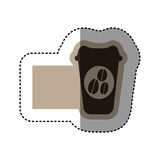 sticker monochrome emblem with disposable coffee cup Stock Images
