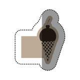 sticker monochrome emblem with ice cream cone Royalty Free Stock Image