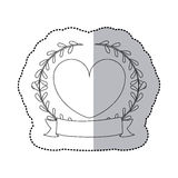 Sticker monochrome with half shadow with crown branchs and heart and ribbon Royalty Free Stock Images
