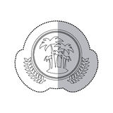Sticker monochrome with half shadow and Island and palm trees in round frame with crown of leaves stock illustration