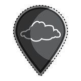 Sticker monochrome Mark icon pointer gps with silhouette cloud icon Royalty Free Stock Photography