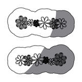 Sticker monochrome minimalistic background with flowers in row both sides Royalty Free Stock Image