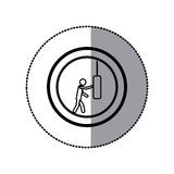 sticker of monochrome pictogram with man knocking punching bag in circular frame Stock Photography