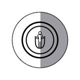 Sticker of monochrome pictogram with training in skipping rope in circular frame Royalty Free Stock Images