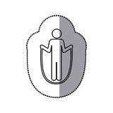 Sticker of monochrome pictogram with training in skipping rope Royalty Free Stock Image