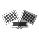 Sticker monochrome with racing flags and ribbon with half shaded. Vector illustration Royalty Free Stock Photo