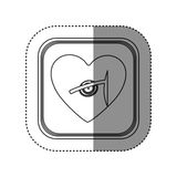 Sticker of monochrome rounded square with heart and stethoscope. Illustration Royalty Free Stock Image