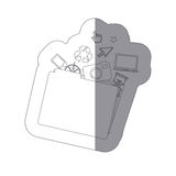 Sticker monochrome shading silhouette folder and tech elements Royalty Free Stock Image